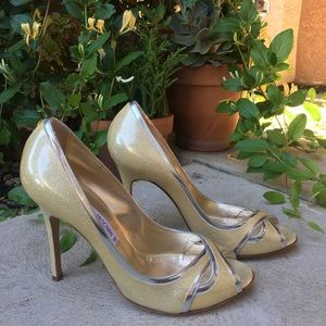 Luciano Padovan Gold Heels Silver Trim Size 40 10B
